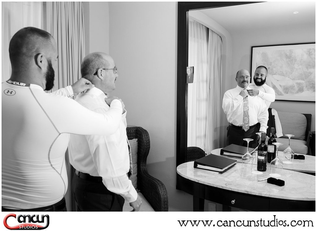 Groom getting ready with Dad