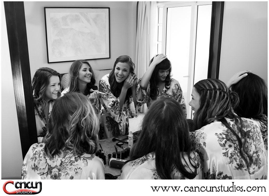 Girls getting ready during Cozumel destination wedding